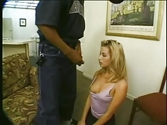 Beautiful blonde white woman with black man - Interracial