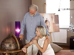 OLD4K. Kind grey-haired teacher makes sweet love