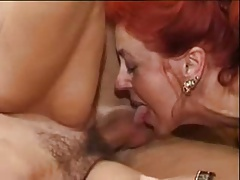 German hairy redhead and brunette matures sharing a cock